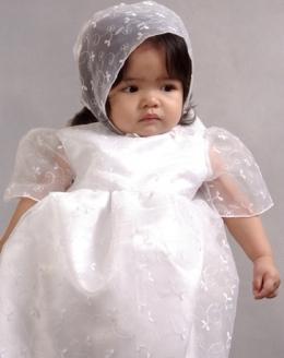 Mybarong Girls Baptismal Gown Set White Corinthian Organza 100151