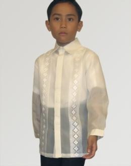 42647e28629 Boys  Barong Tagalog 100160 Cream Made-To-Order