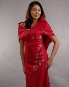 Women's Dress & Shawl Burgundy Satin 100212 Burgundy