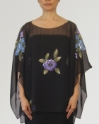 Women's Cape blouse Black Chiffon 100224 Black