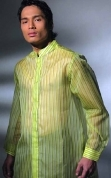 Men's Barong  Jusi fabric 100252 Green Yellow