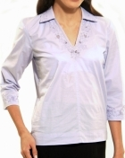 Women's Blouse Lavender Cotton Blend 100455 Lavender