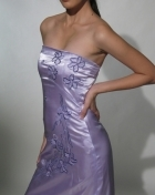 Women's Gown with panuelo Lilac Polyester Satin 100464 Lilac