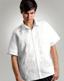 Men's Barong White Ramie Linen blend 100528 White