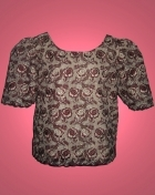 Women's Kimona blouse Burgundy Macrame Lace 100546 Burgundy